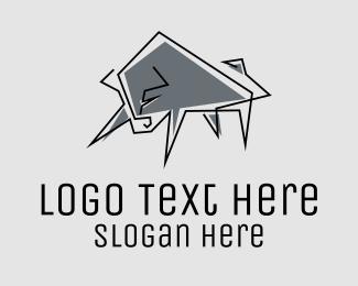 Black Bull - Minimal Gray Bull logo design