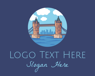 Classical Building - London Tower Bridge Landmark logo design
