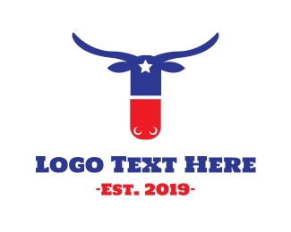 Blue And Red - Texas Pill logo design