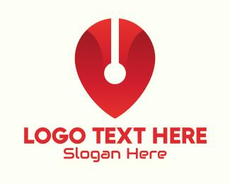 Geolocator - Red Tech Location Pin logo design
