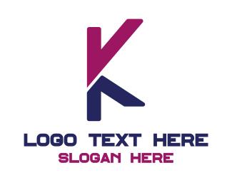 Alphabet - Pink Blue K logo design