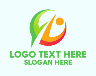 Language - Abstract Person Circle logo design