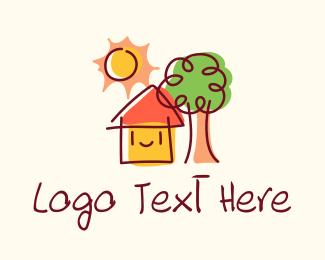 Pediatric - Kindergarten House Cartoon logo design
