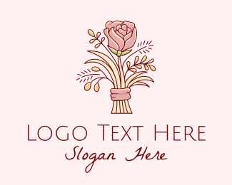 Dating - Rose Flower Bouquet  logo design