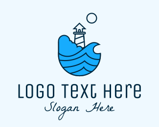 Tsunami - Coastal Ocean Lighthouse logo design