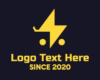 Grocery Shopping - Orange Bolt Shopping Cart logo design