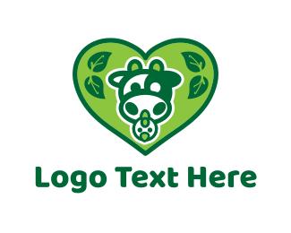 Free Range - Green Organic Heart logo design