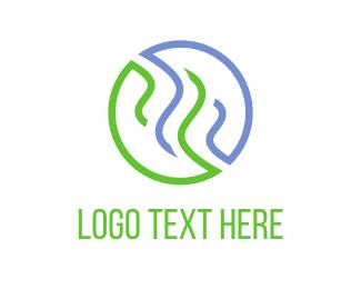 Steam - Blue & Green Steam  logo design
