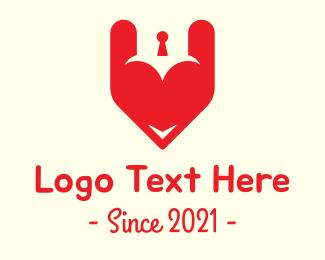 Keyhole - Red Heart Keyhole logo design