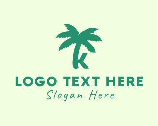 Coconut Tree - Green Palm Tree Letter K logo design