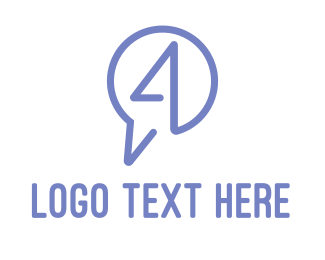 Number 4 - Messaging Number 4 logo design