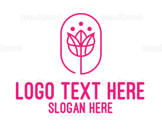 Beauty Store - Pink Stroke Rose logo design