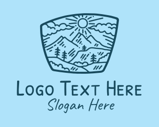 Rock Climbing - Blue Mountain Scenery  logo design
