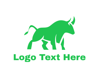 Cattle - Green Abstract Bull logo design