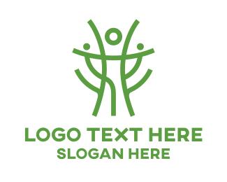 Coach - Green Tree Person logo design