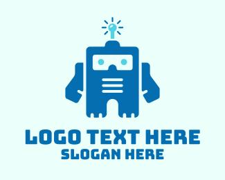 Technology - Bulb Robot Mascot logo design