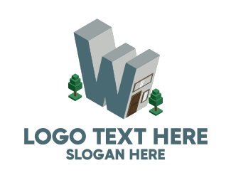 Warehouse - Modern Building Letter W logo design