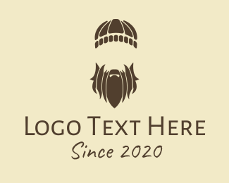 Mens Grooming - Brown Hipster Guy Man logo design
