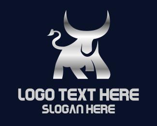 Meat - Silver Horn Bull logo design