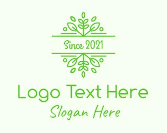 Victorian - Green Herbal Garden Leaves logo design