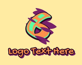 Six - Graffiti Art Number 6 logo design