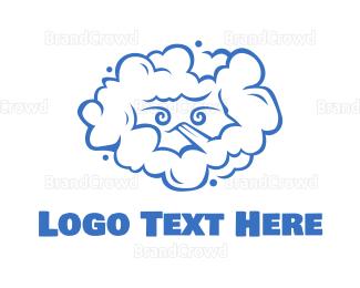 Activity - Blue Blowing Cloud Line Art logo design