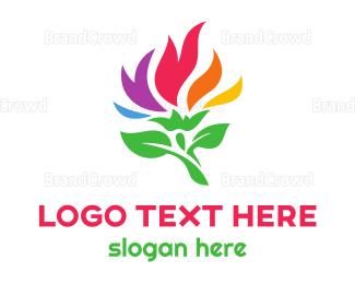 Botanical - Colorful Flame Flower logo design