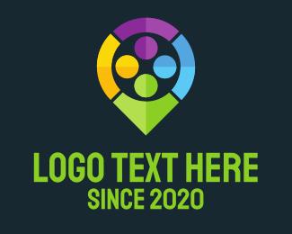 Pin - Colorful Locator logo design