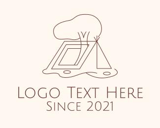 Scout Camp - Minimalist Camping Tent logo design