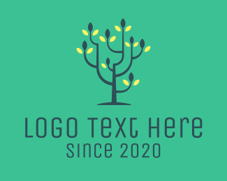 Meditation - Green Flower Tree logo design