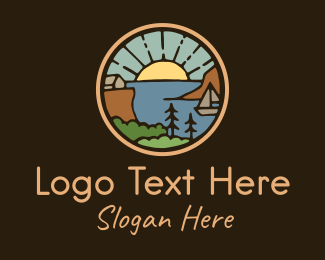 Plain - Rustic Summer Beach Badge logo design