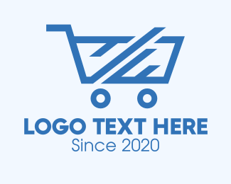 Woodworks - Blue Abstract Shopping Cart logo design