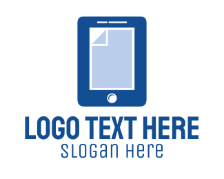 Mobile Tablet - Blue Mobile Document logo design
