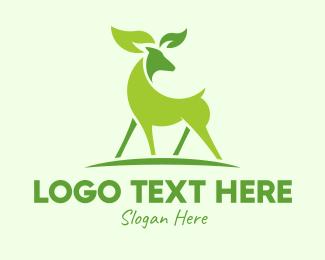 Animal Rights - Deer Eco Leaf Sustainability  logo design