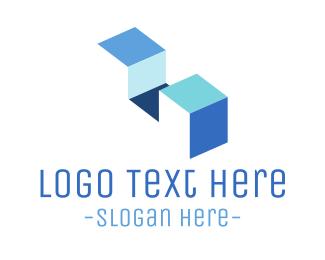 Ladder - Minimalist Blue Stairs logo design