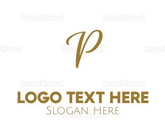 Cosmetic - Golden Letter P logo design