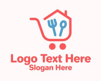 House - Kitchen Shopping Cart logo design