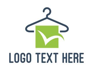 Laundry Service - Green Check Hanger logo design
