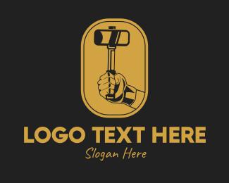 Metal Fabrication - Mallet Hand Emblem  logo design
