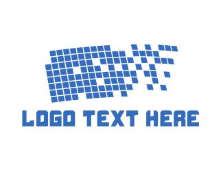 Bitmap - Pixel Flag logo design