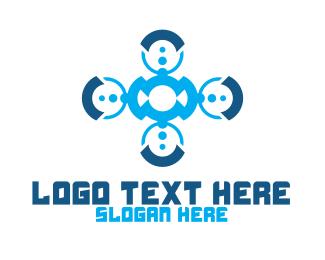 Data Transfer - Modern Communication Badge logo design