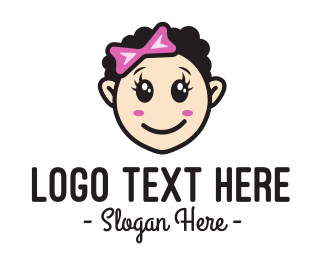 Rubber - Cute Happy Girl Child logo design