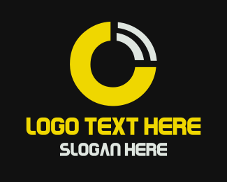 Broadcast - Yellow Circle O Signal logo design