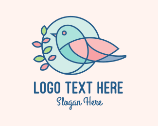 Bird Sanctuary - Pretty Bird Leaves logo design