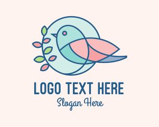 Leaves - Pretty Bird Leaves logo design