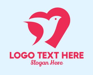 Social Media - Romantic Pink Dove Heart  logo design