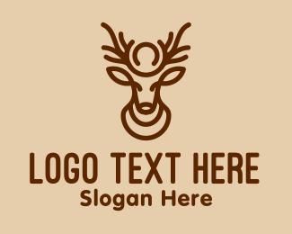 Antlers - Brown Minimalist Deer logo design