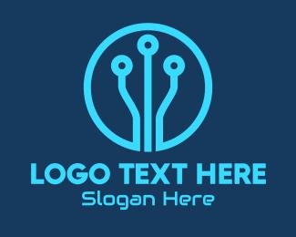 Cyberspace - Blue Tech Circuit logo design