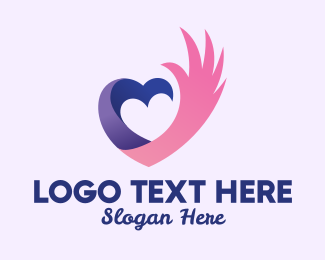 Online Dating - Heart Hand Wing  logo design