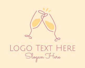 Champagne - Champagne Glass Toast logo design